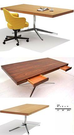 Knoll Table Desk Florence Executive - Quasi Modo Modern Home, Inc Office Furniture, Modern Furniture, Furniture Design, Small Office, Home Office, Knoll Table, American Interior, Florence Knoll, Table Desk