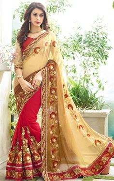Scintillating Cream and Red Latest Saree with Blouse