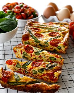 Frittatas are easy to make and brilliant to transport and delicious hot or cold making them a great vegetarian breakfast or lunch option and this asparagus and tomato frittata slice from The Foodie Teen cookbook is absolute heaven. Try mixing up the ve Dairy Free Recipes, Veggie Recipes, Yummy Recipes, Cooking Recipes, Healthy Recipes, Recipes Dinner, Lunch Recipes, Steak Recipes, Healthy Savoury Snacks