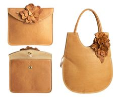 RTH leather envelope clutch and egg bag. Tan leather and floral applique.