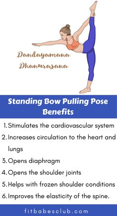 Standing Bow Pulling Pose is an advanced variation standing balance that incorporates a backbend. It is tough for beginners. If you are a beginner at yoga, Click the link to see some beginner's yoga poses. Learn Yoga, How To Start Yoga, Yoga Poses For Beginners, Workout For Beginners, Yoga Information, Yoga Movement, Pilates, Yoga Moves, Yoga Teacher Training