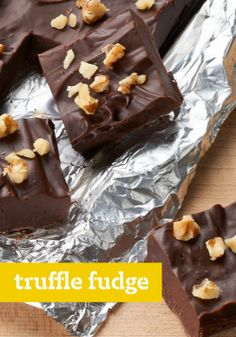 Truffle Fudge – Q: What happens when you add sweetened condensed milk, whipping cream and vanilla to melted semi-sweet chocolate? A: Heavenly (no-bake!) Truffle Fudge.