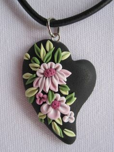 Black Polymer Clay Heart with Pink Flowers | Flickr - Photo Sharing!