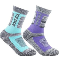 YUEDGE Women's 2 Pairs Wicking Breathable Cushion Casual Crew Socks Outdoor Multi Performance Athletic Hiking Socks (M, Purple/Light blue). For product & price info go to:  https://all4hiking.com/products/yuedge-womens-2-pairs-wicking-breathable-cushion-casual-crew-socks-outdoor-multi-performance-athletic-hiking-socks-m-purple-light-blue/