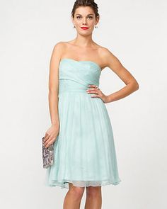 Silk Chiffon Strapless Cocktail Dress
