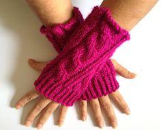 Fingerless Gloves Wrist Warmers in Fuschia by MadebyMegShop, $25.00