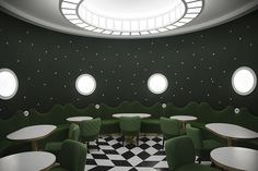 laduree3  The checkered floor and white accents anchor the spaces and help them avoid the pitfalls of overly prissy and fussy. The round shape repeats itself in the furniture, lighting and corners echoing the softness and roundness of the macaroon. Tuija Seipell.