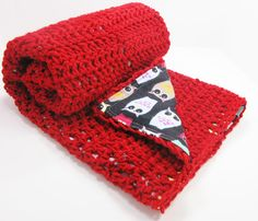 Crochet on one side, soft cotton on the other! A wonderful blanket for the girls.