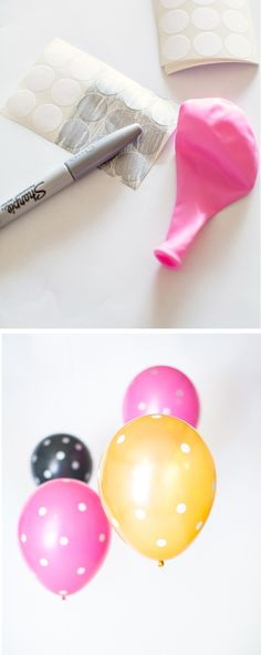 DIY Polka dot Balloons with office labels! #partyhack
