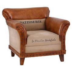 Leather & Canvas Patisserie Arm Chair