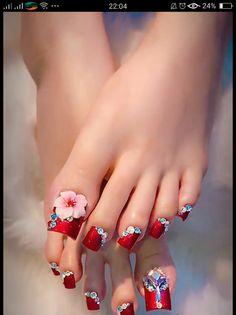 Toe Designs, Long Nail Designs, Pedicure Designs, Pedicure Nail Art, Toe Nail Art, Nail Art Designs, Pretty Toe Nails, Pretty Toes, Long Toenails