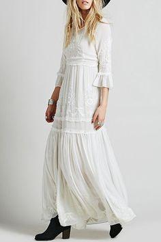 3/4 Sleeve Embroidered Ruffles Maxi Dress