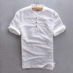 Hombres calientes del verano de manga corta de alta calidad de lino delgado Camisas del Color sólido hombres Popover hombre más el tamaño Tops Camisas