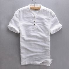 AliExpress - Top Quality Short Sleeve Slim Linen Solid Color Popover Shirt Men