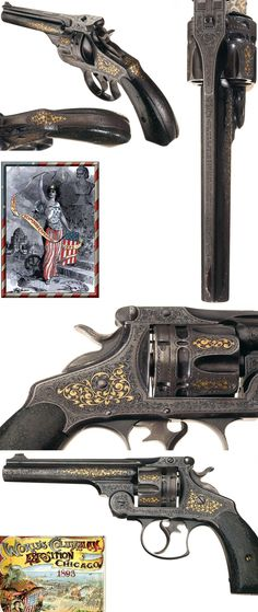 Extraordinary Documented Gustave Young's 1893 Chicago World's Fair Exposition Engraved and Gold Inlaid Smith & Wesson 44 Double Action Frontier Model Revolver with Nevada Gold Mining Lawman History.     http://www.rockislandauction.com/viewitem/aid/59/lid/1
