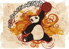 """""""Pandaccanestro"""" illustrazione per una squadra di pallacanestro giovanile (Illustrator & Photoshop). Illustration for a youth basketball team (Illustrator & Photoshop)."""