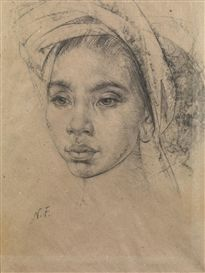 Artwork by Nicolai Fechin, Balinese Girl, Made of Charcoal on paper