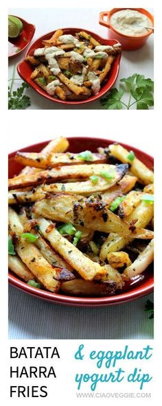These fries were inspired by the Lebanese dish batata harra. I am loving Lebanese food right now - and these fries are a great intro to it!