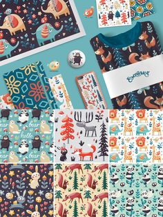 Seamless cute animal and floral patterns on Behance