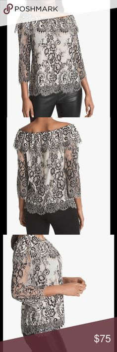 "OFF-THE-SHOULDER LACE TOP Off-the-shoulder lace top in black with ecru 3/4 sleeves Lined with white cami Approx. 24 1/2"" from shoulder; hits below hip White House Black Market Tops Blouses"