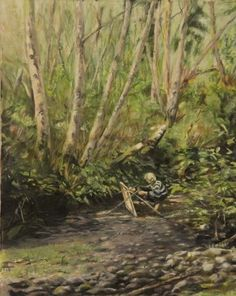 Plein Air - Vicki at Mallard Creek – Oil on Canvas - Paintings by Stephen Cole