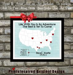 Personalized map location place of where we met engagement gift art custom wedding travel theme map love story quote unique wedding gift ideas for husband him bride groom heart picture print poster art negle Images