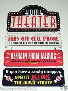 Theater Embossed Metal Sign Vintage Style Movie Theatre Cinema Media Retro Decor