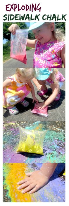 Explore Science and art with exploding sidewalk chalk.  This activity is easy to set up, requires basic household ingredients, and was seriously way too fun! (exploding art for Summer)