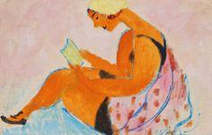 Sigrid Hjertén - Läsande Flicka (Reading Girl) 1918