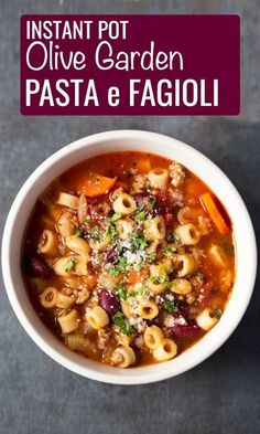 Instant Pot Olive Garden Pasta e Fagioli - Cook Fast, Eat WellYou can find Best instant pot and more on our website.Instant Pot Olive Garden Pasta e Fagioli - Cook Fast, Eat. Pasta Recipes, Crockpot Recipes, Cooking Recipes, Healthy Recipes, Healthy Soup, Recipe Pasta, Instapot Soup Recipes, Healthy Chicken, Dinner Healthy