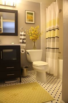(Black, Grey and Yellow Bathroom @ DIY Home Design)  already have these colors....