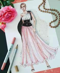 Fashion illustration of woman in rose skirt, Digital file Dress Design Drawing, Dress Design Sketches, Fashion Design Sketchbook, Fashion Design Drawings, Fashion Sketches, Fashion Drawing Dresses, Fashion Illustration Dresses, Fashion Illustration Collage, Fashion Illustrations