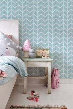 Self adhesive vinyl temporary removable wallpaper, wall decal - Chevron pattern print - 099 WHITE/ SEAFOAM Temporary Wallpaper, Vinyl Wallpaper, Self Adhesive Wallpaper, Adhesive Vinyl, Peel And Stick Vinyl, Wall Patterns, Apartment Living, Wall Decals, Kids Room