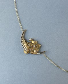 PRETTY seed pearl flower and crescent moon Necklace by LeolaRevives on Etsy