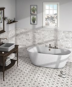 """Emulate the timeless beauty of Bardiglio marble with the Bardiglio 8"""" Hex Porcelain Tile in Flower. This Hex tile creates dimension and draws interest wherever they are installed. Starting at $6.99 SQ FT this tile is perfect for a sophisticated bathroom!"""
