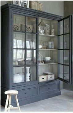 This hutch could go in a few different places. It could be the china cabinet in the dining room,a book case in the family room, or the hutch/cabinet in the kitchen eating area. I don't think I would change the colour.