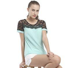 Women Blouses Summer Lace Chiffon Blouse Blusa Feminina Tops Fashion C                      – Hot Sale Products free ship to worldwide