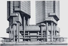 Bond Centre (now Lippo Center) Rendering by Paul Rudolph. [Image credit: courtesy of the archives of the Paul Rudolph Foundation]