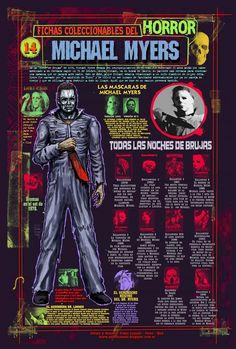 """Ficha infográfica homenaje al film """"Halloween"""". Dibujos y diseños míos."""