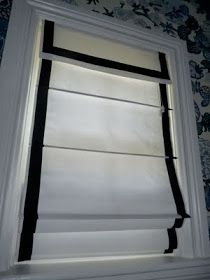 DIY ribbon trim on Roman shades