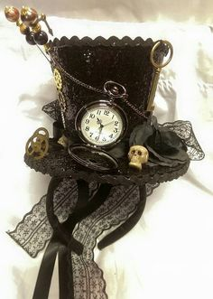 Steampunk Gothic Cosplay Black Mini Top Hat Real Pocket Watch Clocks Keys Skulls Rose