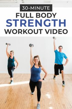 Full Body Strength Training — using a set of dumbbells! This home workout video is perfect for strength training at home! Full Body Strength Training — using a set of dumbbells! This home workout video is perfect for strength training at home! Full Body Strength Workout, Home Strength Training, Benefits Of Strength Training, Home Workout Videos, Body Workout At Home, At Home Workouts, Exercise Workouts, Training Exercises, Body Workouts