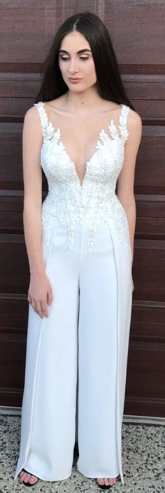 38303c8229e3 Angela Manno Custom Made - Bridal Goddess Jumpsuit Wedding Dress