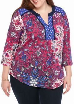 New Directions  Plus Size Bell Sleeve Twin Print Top