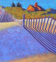 """peter batchelder """"Beach Fence"""" on it's way to Left Bank Gallery, Wellfleet, MA Landscape Quilts, Abstract Landscape, Landscape Paintings, Abstract Art, Barn Paintings, Wolf, Medium Art, Beautiful Paintings, Painting & Drawing"""