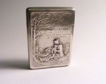 Extremely rare Art Nouveau vesta cases sterling silver MARIANI WINE PROMOTIONAL match safe  Gabert et Conreau Louis Oscar Roti