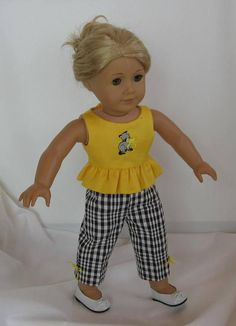 Sunshine yellow top with black and white pants by karenstinytreasures Sewing Doll Clothes, Sewing Dolls, Girl Doll Clothes, Doll Clothes Patterns, Girl Dolls, Doll Patterns, Ag Dolls, Barbie Clothes, Dress Patterns