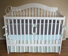 Custom Baby Bedding Crib Set  Boys Gray and Aqua  by CottageBelles, $365.00