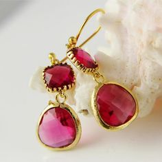 Gold Framed Fuchsia Earrings, Hot Pink Bridesmaids Jewelry, Wedding, Bridal, Mothers Day Gift, Elefant, Chic, Bohemian E