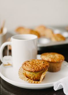 Zucchini oat chocolate chunk muffins
